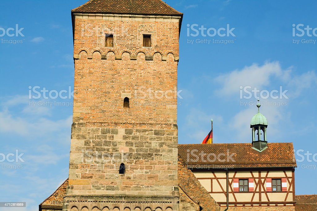 Main buildings and tower of Castle 'Kaiserburg' in Nuremberg stock photo