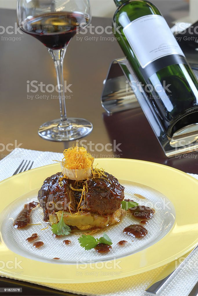 main course with wine royalty-free stock photo