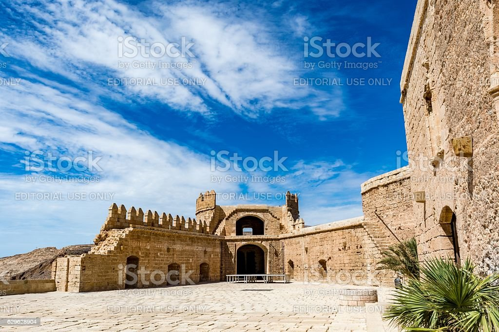 Main courtyard of the Christian part of the Almeria Castle stock photo