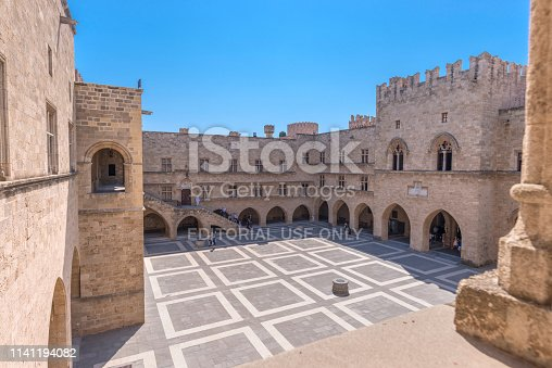 Rhodos, Greece - August 2016: Main courtyard of the Palace of the Grand Master of the Knights of Rhodes (Kastello), Rhodes island