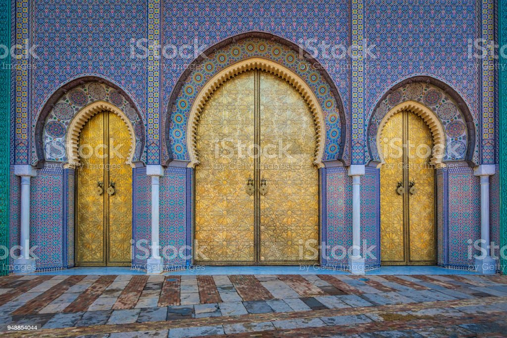 Main doors of the royal palace in Fez (HDRi) stock photo