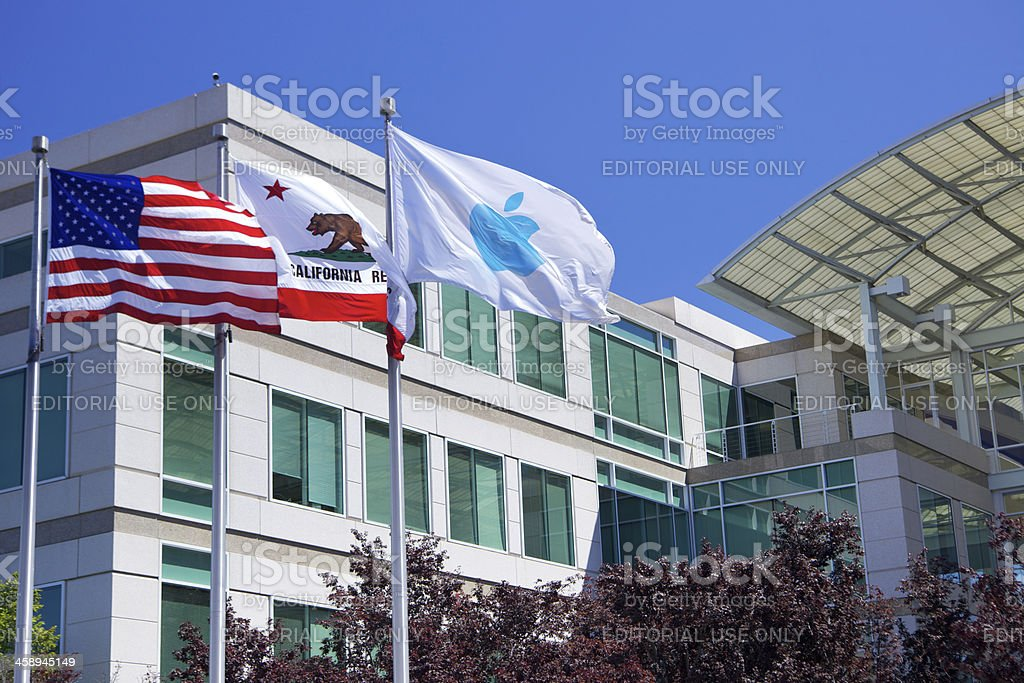 Main entrance at Apple, Inc. campus in Cupertino, CA royalty-free stock photo