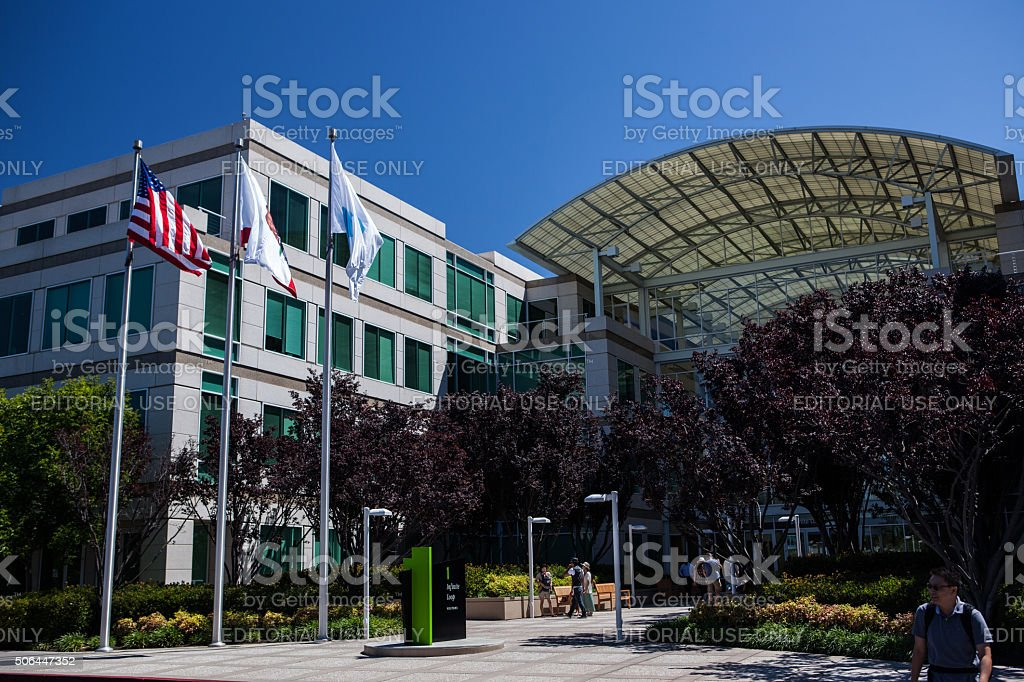 Main entrance of Apple, Inc. in Cupertino, CA stock photo