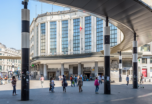 Main entrance of Brussels central train station in Belgium.