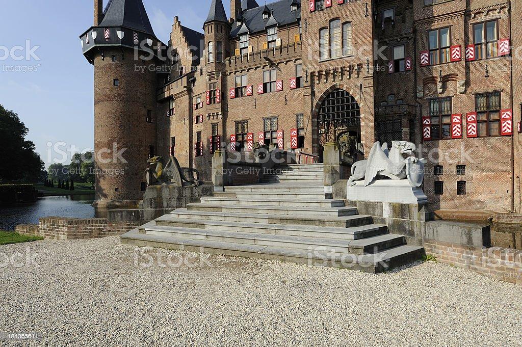 Main entrance of castle De Haar in the Netherlands stock photo