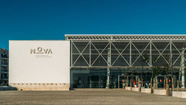 Main entrance of Nova University in Carcavelos, Portugal stock photo