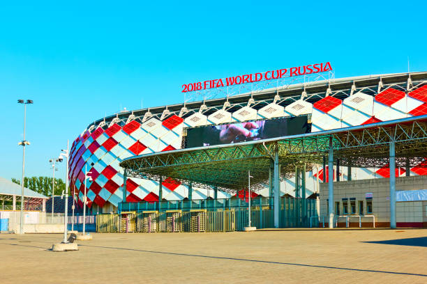 Main entrance of Otkrytie Arena Stadium stock photo