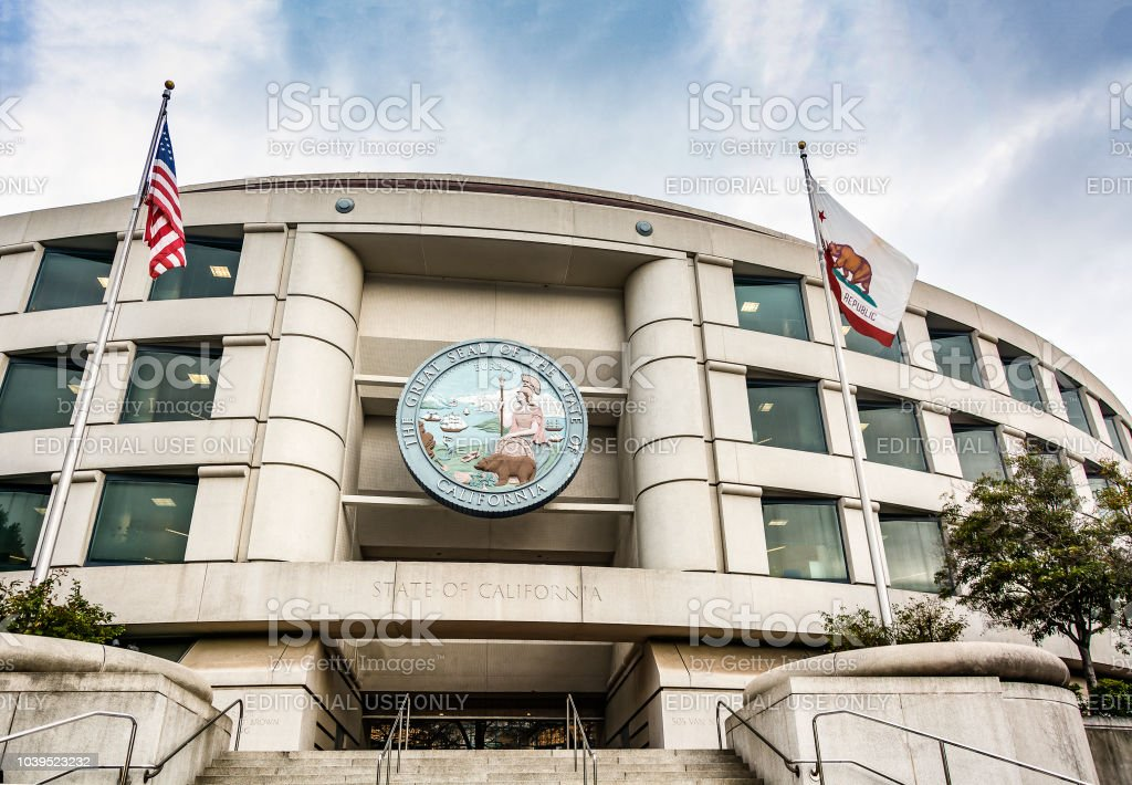 Main entrance of the California Public Utilities Commission headquarters building in San Francisco stock photo