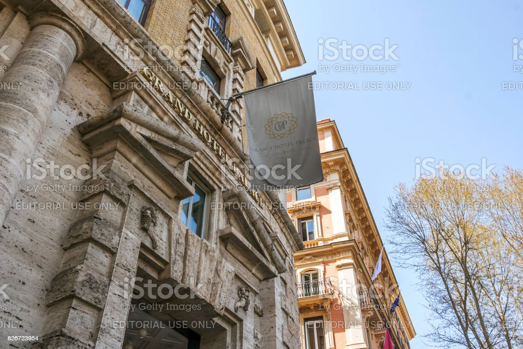 main entrance of the Grand Hotel Palace in Rome stock photo
