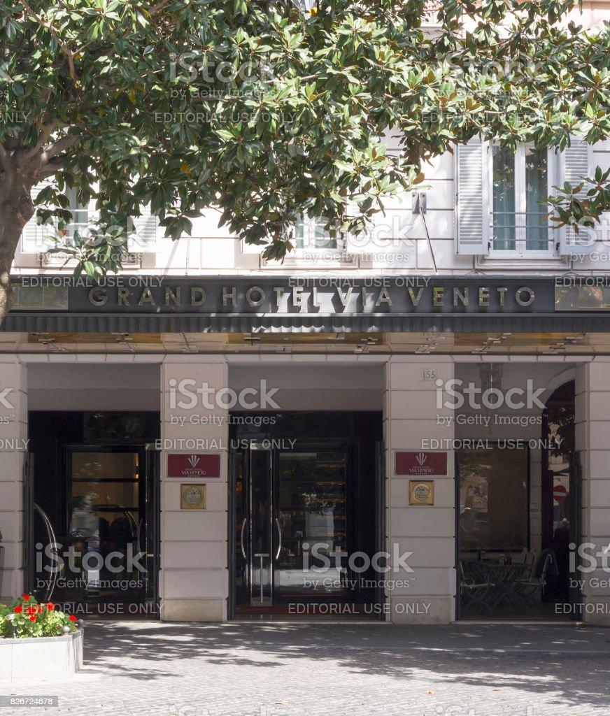 Main entrance of the Grand Hotel Via Veneto in Rome stock photo