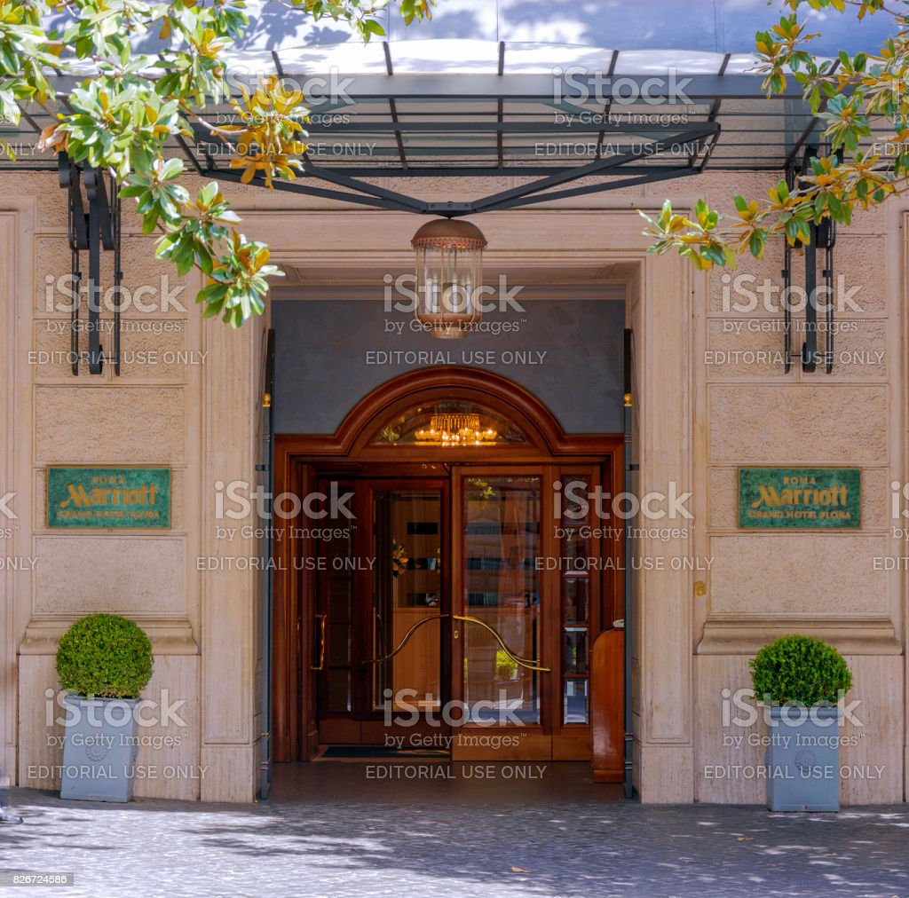 main entrance of the Marriot Grand Hotel Flora in Rome stock photo