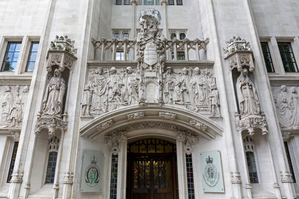 Main entrance of the Supreme Court in London stock photo