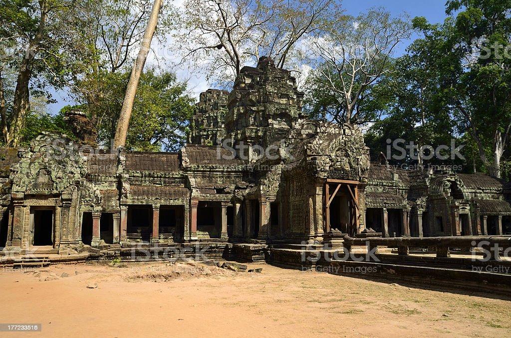 Main entrance of the temple Ta Phrom royalty-free stock photo