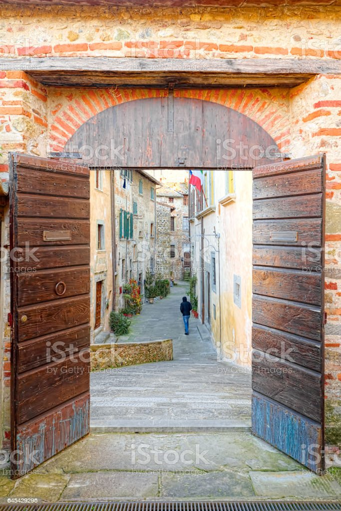 Main entrance of the Tuscan village of Anghiari stock photo