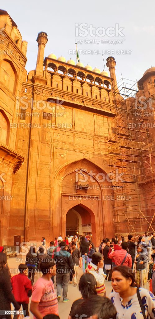 Main entrance Red Fort, Delhi, India stock photo