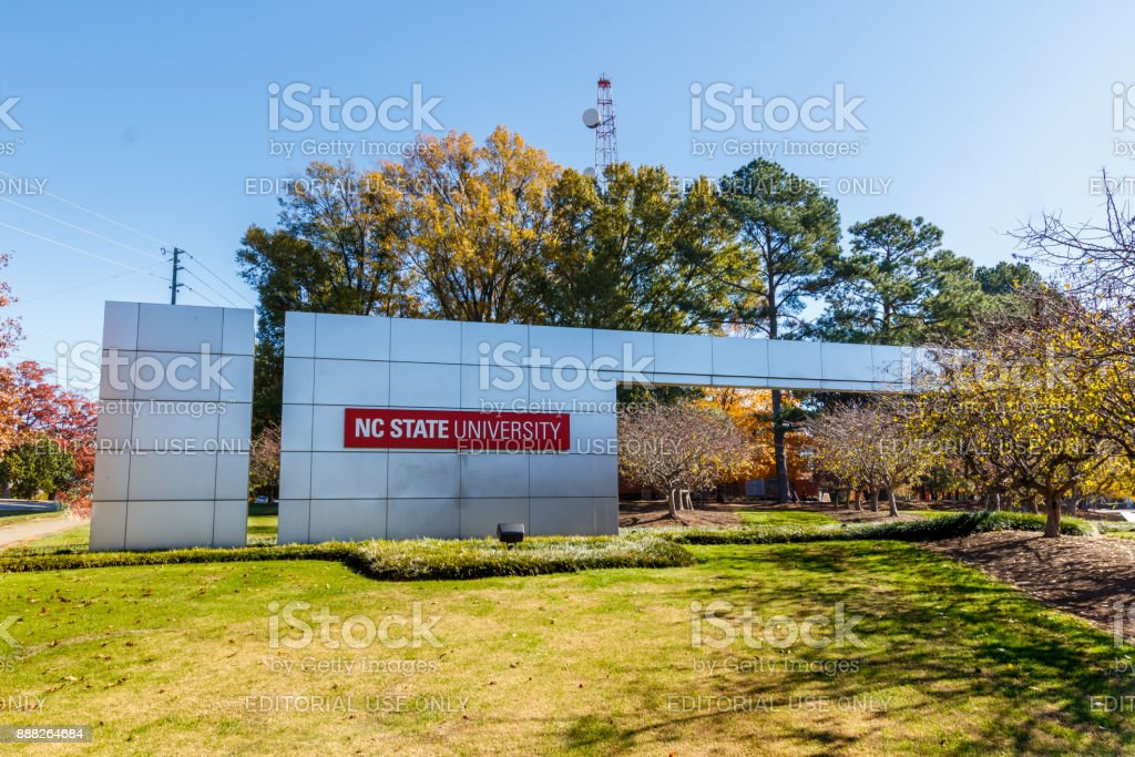 Main Entrance Sign at NC State University stock photo