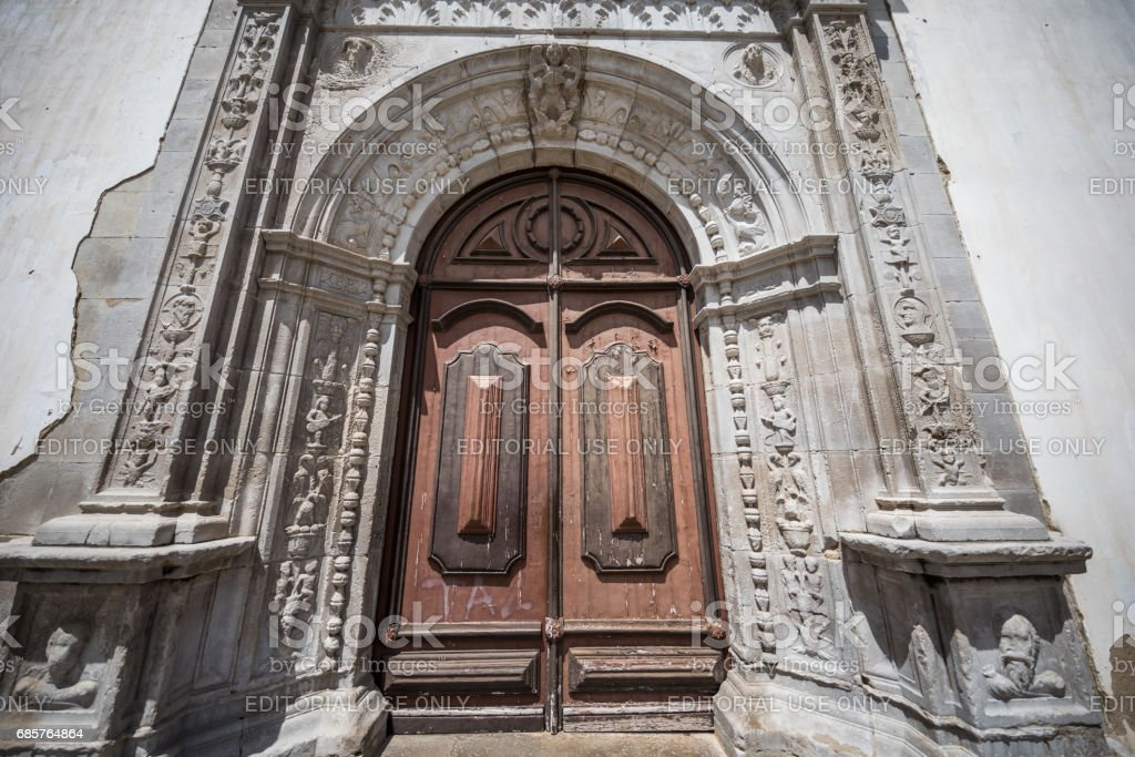 Main entrance to Igreja da Misericórdia - Church of Mercy -  in Tavira, Algarve, Portugal zbiór zdjęć royalty-free