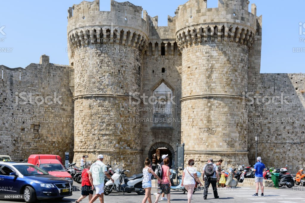Main entrance to medieval fortress of Rhodes town on Rhodes island, Greece stock photo