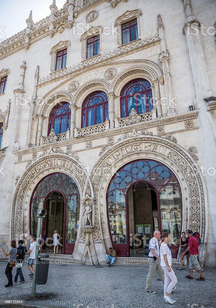 Main entrance to Rossio Railway Station, Lisbon, Portugal stock photo