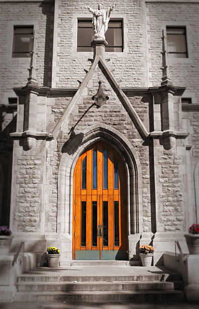 Main entrance to St-Lawrence School in Montreal stock photo