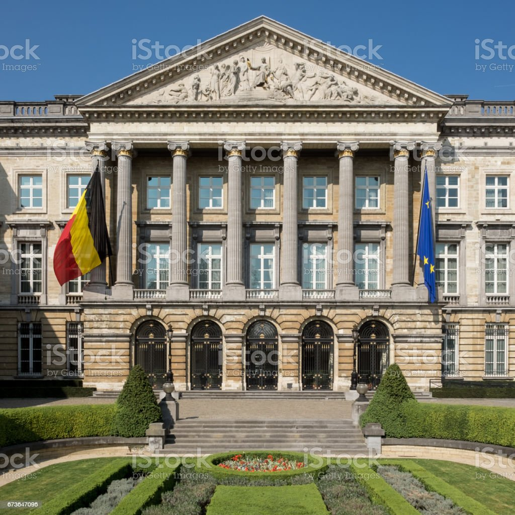 Main entrance to the Belgian Parliament in Brussels. stock photo