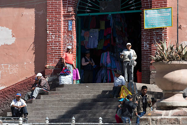 Main entrance to the indoor market in Huamanga, Peru stock photo