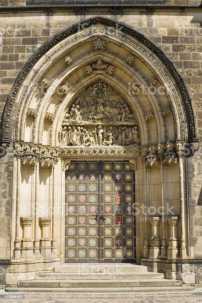 Main entrance to Vysehrad church in Prague royalty-free stock photo