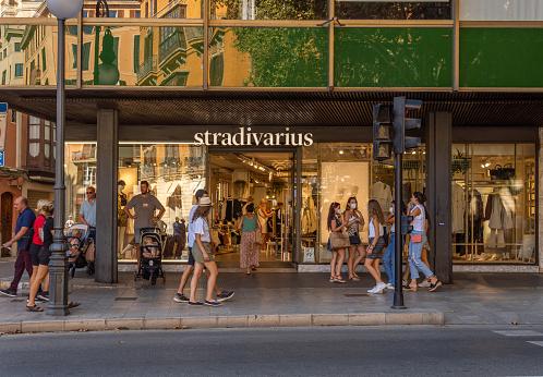 Palma de Mallorca, Spain; september 10 2021: Main facade of an establishment of the international fashion and accesories retail chain Stradivarius, in the historic center of Palma de Mallorca