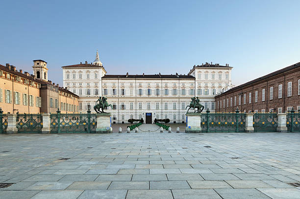 Main facade of Royal Palace in Castello Square, Turin, Italy stock photo