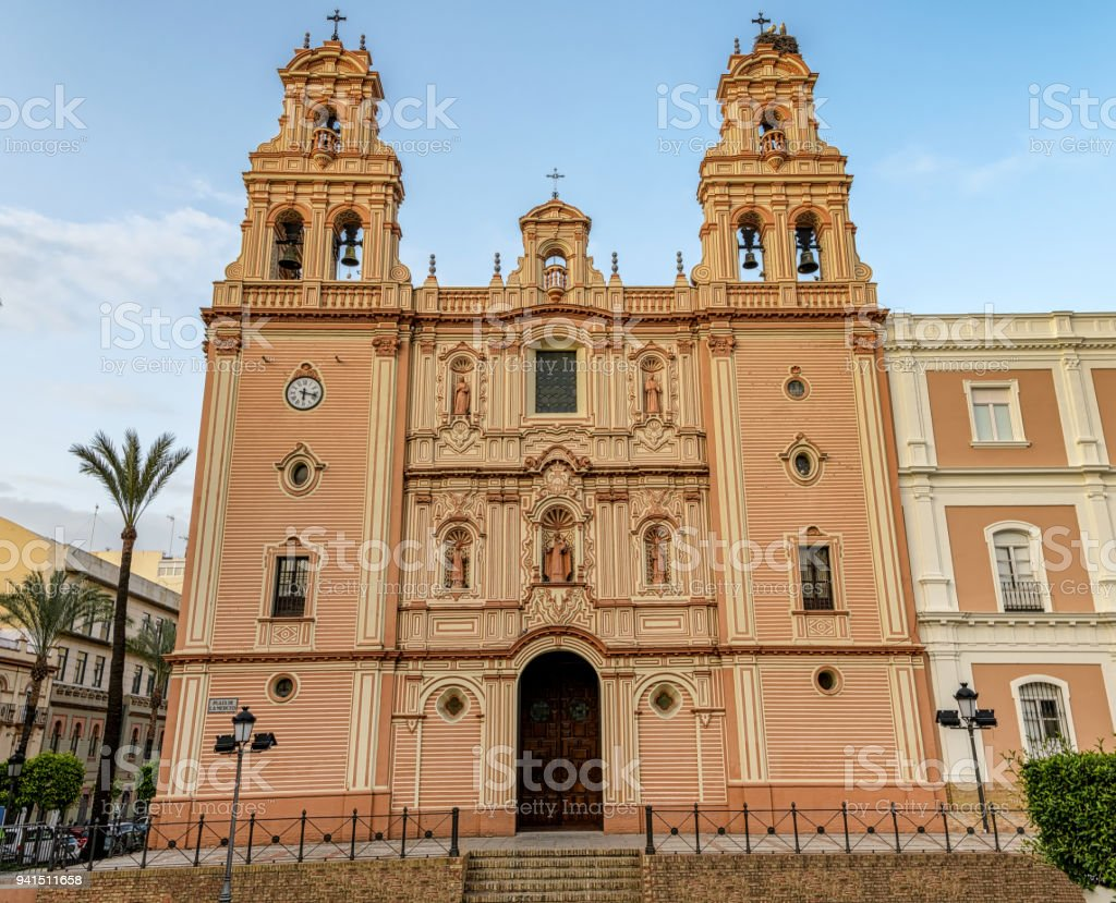 Main facade of the cathedral of Huelva. stock photo
