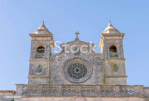 istock Main facade of the hermitage of Bonany, located on the island of Mallorca, Spain 1296453859