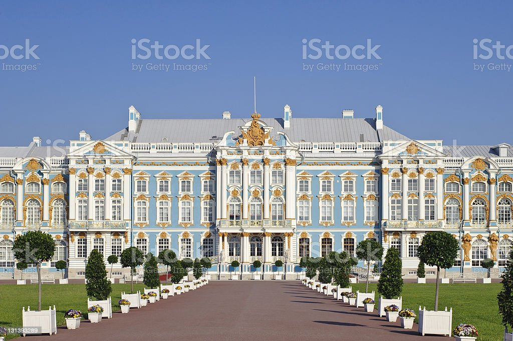 Main facade of the historic Catherine Palace stock photo