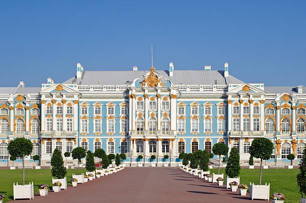 main facade of the historic catherine palace - sint petersburg rusland stockfoto's en -beelden