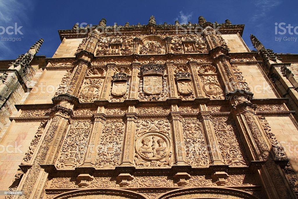 Main facade of the University of Salamanca stock photo