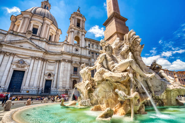 Main Fountain on Piazza Navona during a Sunny Day, Rome stock photo