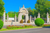 Main Gate in Buen Retiro Park (Parque de El Retiro)- most  largest and most beautiful of the Madrid parks. Madrid.
