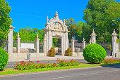 Main Gate in Buen Retiro Park (Parque de El Retiro)- most  largest and most beautiful of the Madrid parks. Madrid.