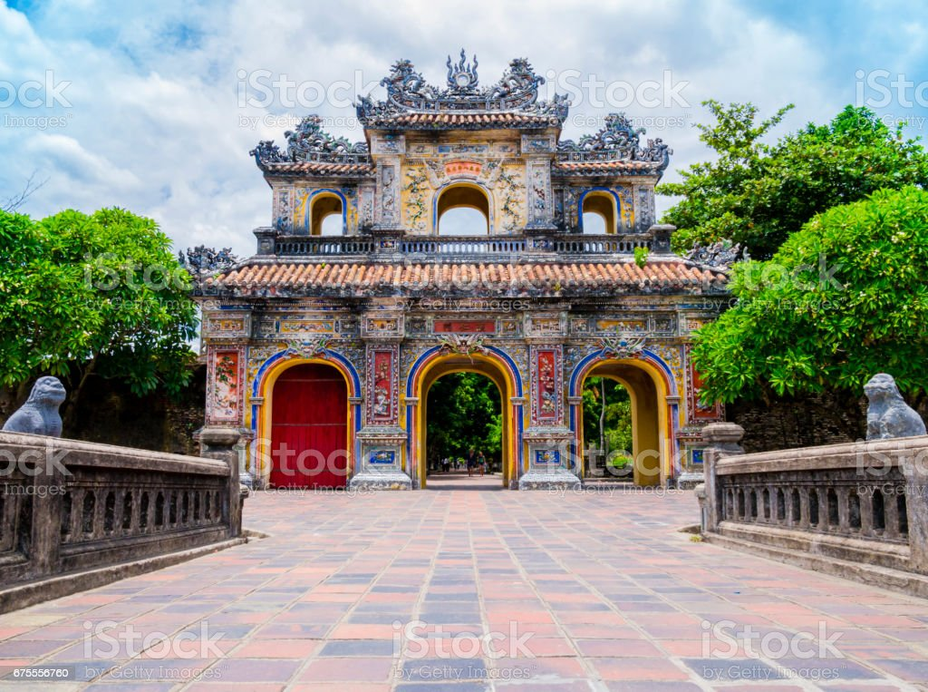 Main gate in the old citadel of Hue, Vietnam stock photo
