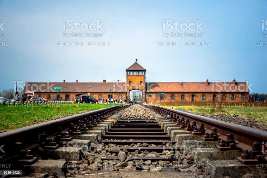 Main Gate To Nazi Concentration Camp Of Auschwitz Birkenau With