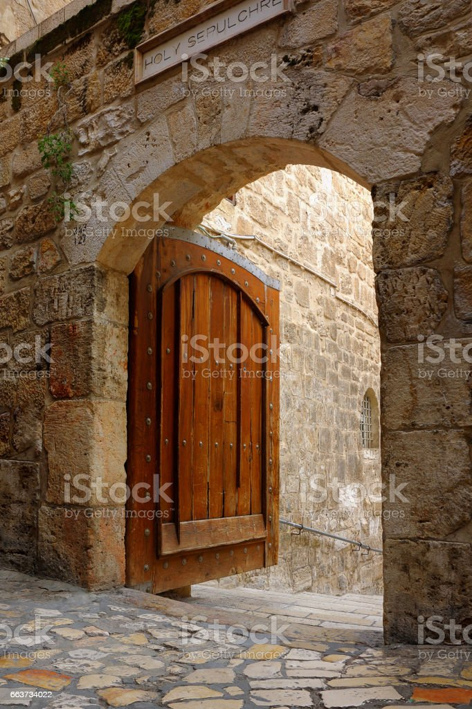 Main Gate to the Yard of the Church of the Holy Sepulchre stock photo