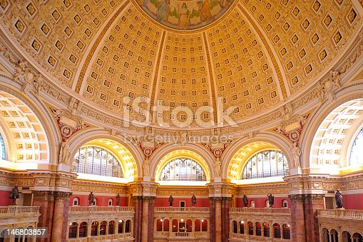 Main Hall and dome ceiling, Library of Congress, Washington, DC
