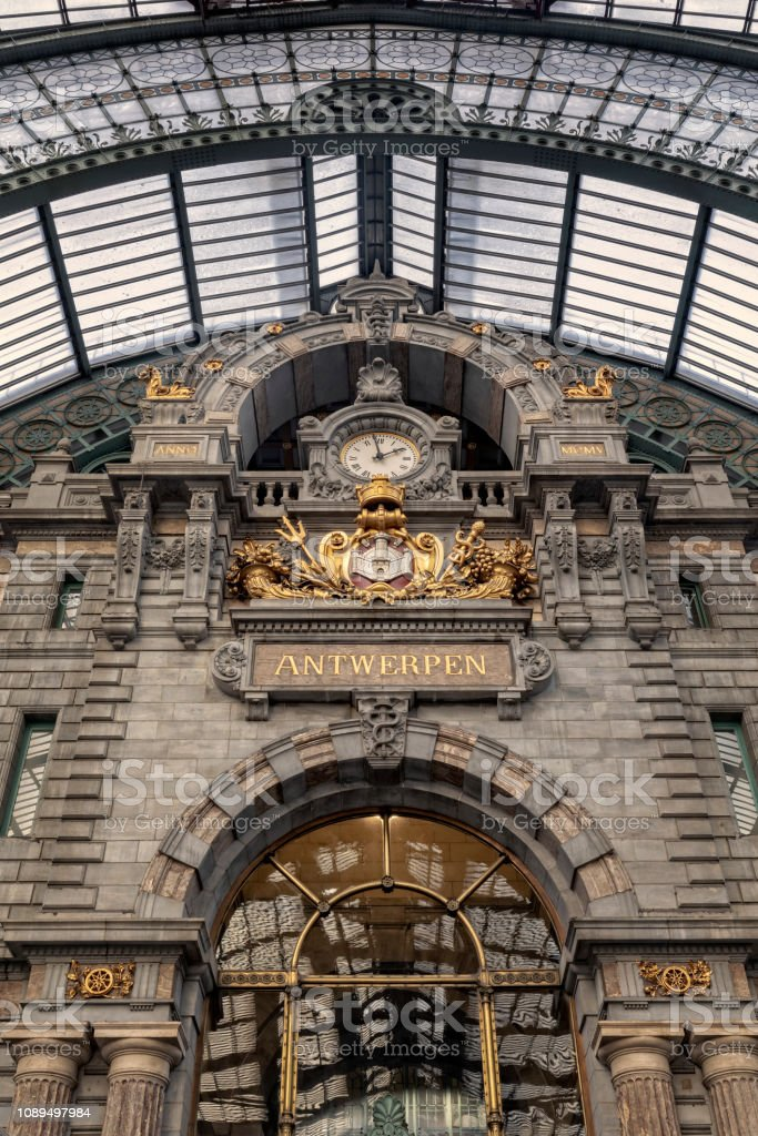 main hall of Antwerp Central Station in art deco style; Antwerp,...
