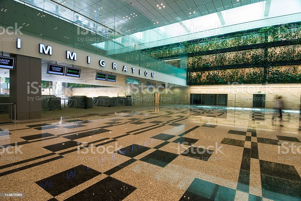 Main hall of immigration office building stock photo