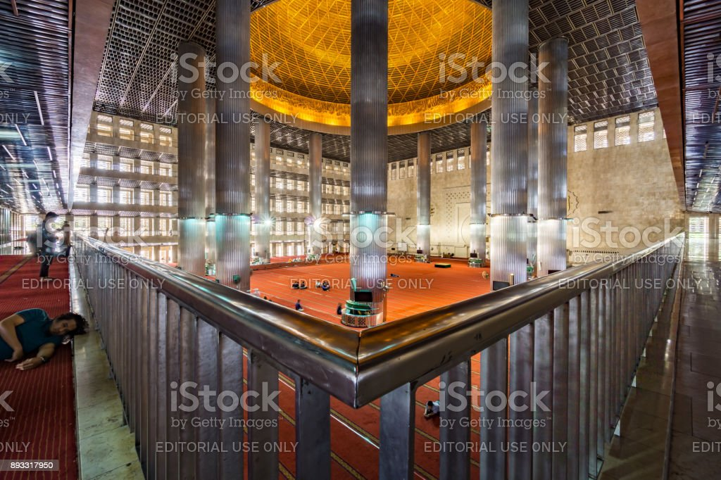 Main Hall of Istiqlal Mosque stock photo