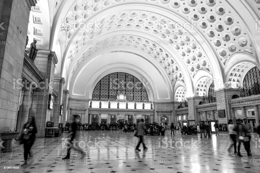 Main Hall of Washington Union station - WASHINGTON DC - COLUMBIA - APRIL 9, 2017 stock photo