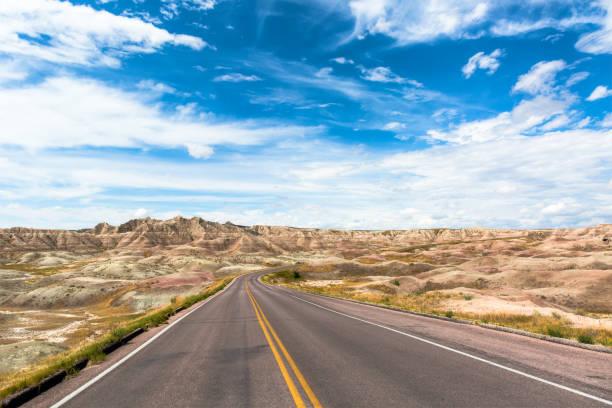Main Highway through Badlands National Park in South Dakota, USA stock photo