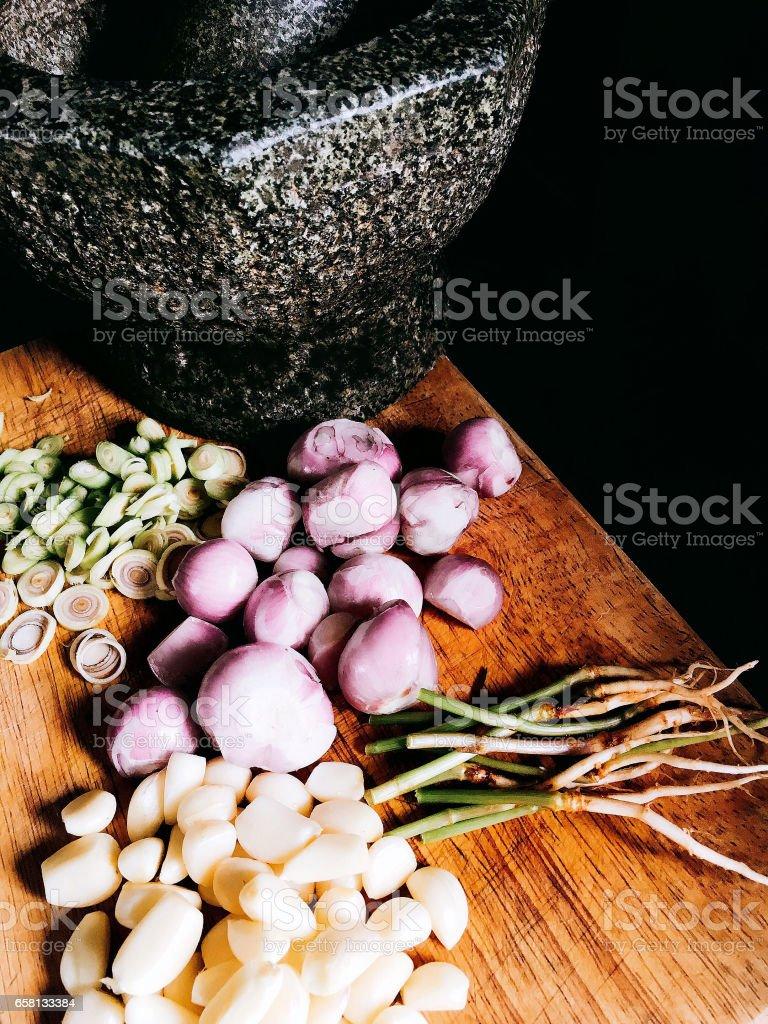 Main ingredient of Thai past stock photo