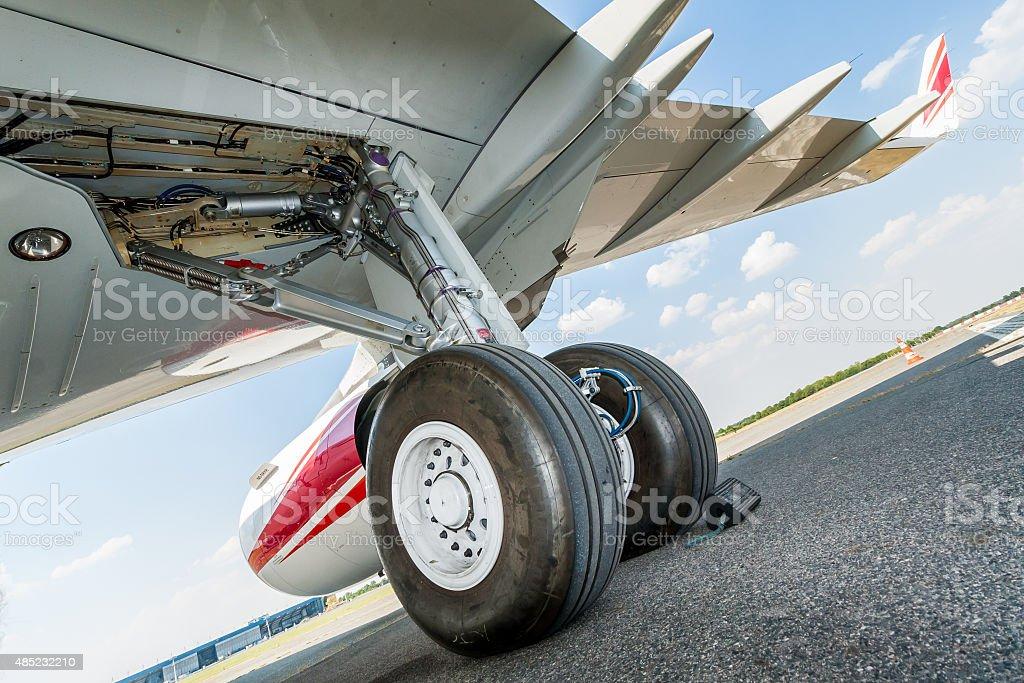 Main landing gear close-up - rear view stock photo