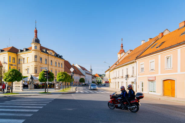 Main Liberty square with motorcycle in Slovenska Bistrica stock photo