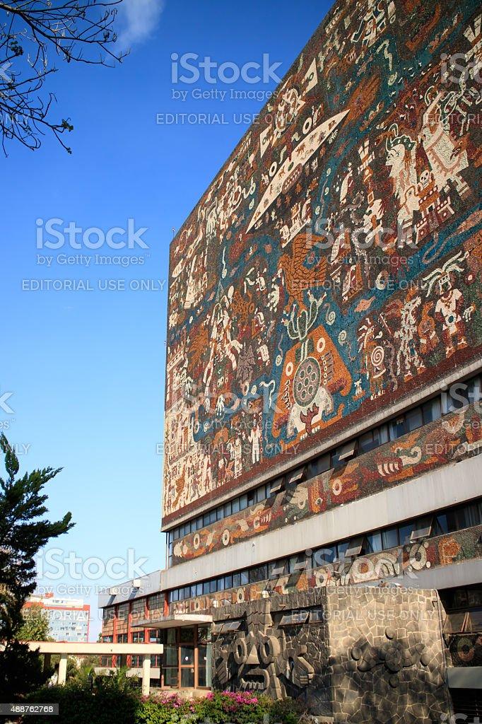 Main library in the Universidad Nacional Autonoma de Mexico stock photo